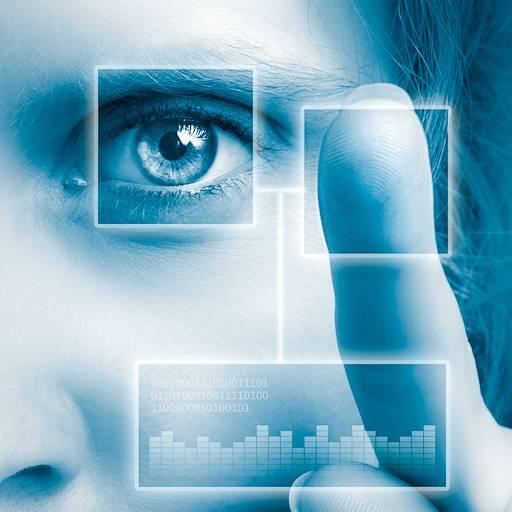 Un'interfaccia che mostra dati biometrici in realtà aumentata