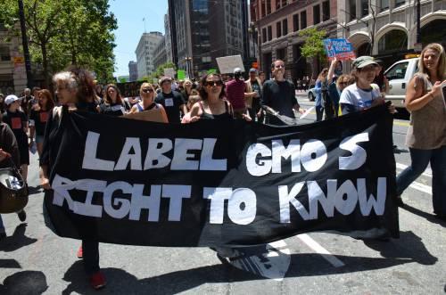 Protesta per l'etichettatura degli ogm