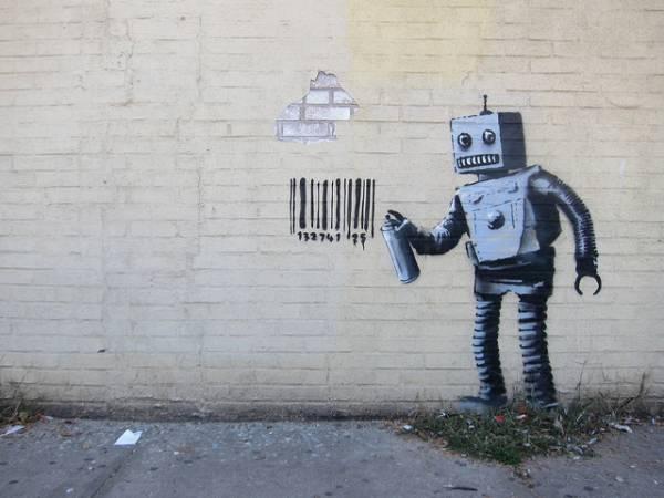 Un'opera d'arte di Banksy raffigurante un robot