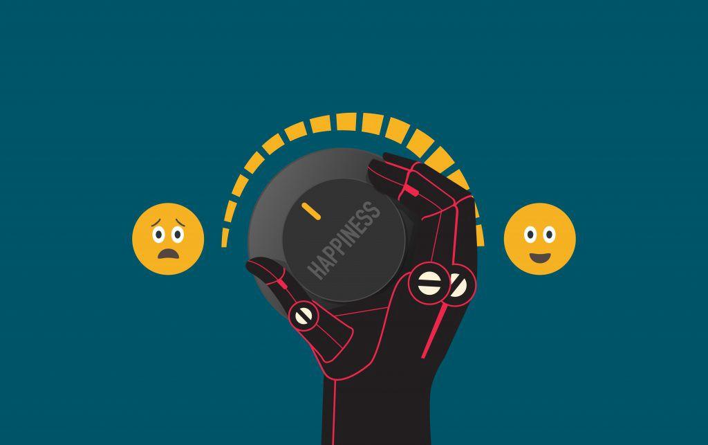 """Immagine grafica di una mano robotica che sta girando una """"manopola della felicità"""""""