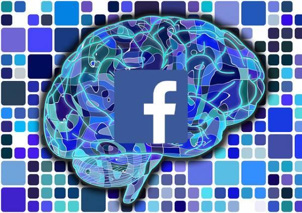 Un disegno di un cervello con il logo di Facebook