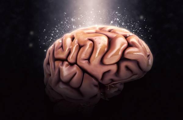 Render 3D di un cervello umano su sfondo nero