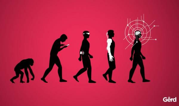 Illustrazione dell'evoluzione dell'uomo, da primate passando per cyborg fino ad avere un cervello interconnesso