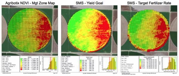 La mappatura di un campo coltivato con relativi dati ottenuta grazie alla tecnologia di Agribotix.