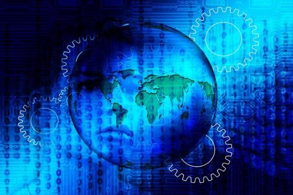 Un volto umano sfocato immerso nel codice binario di 0 e 1