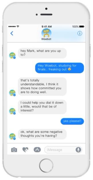 Una schermata dell'app Woebot