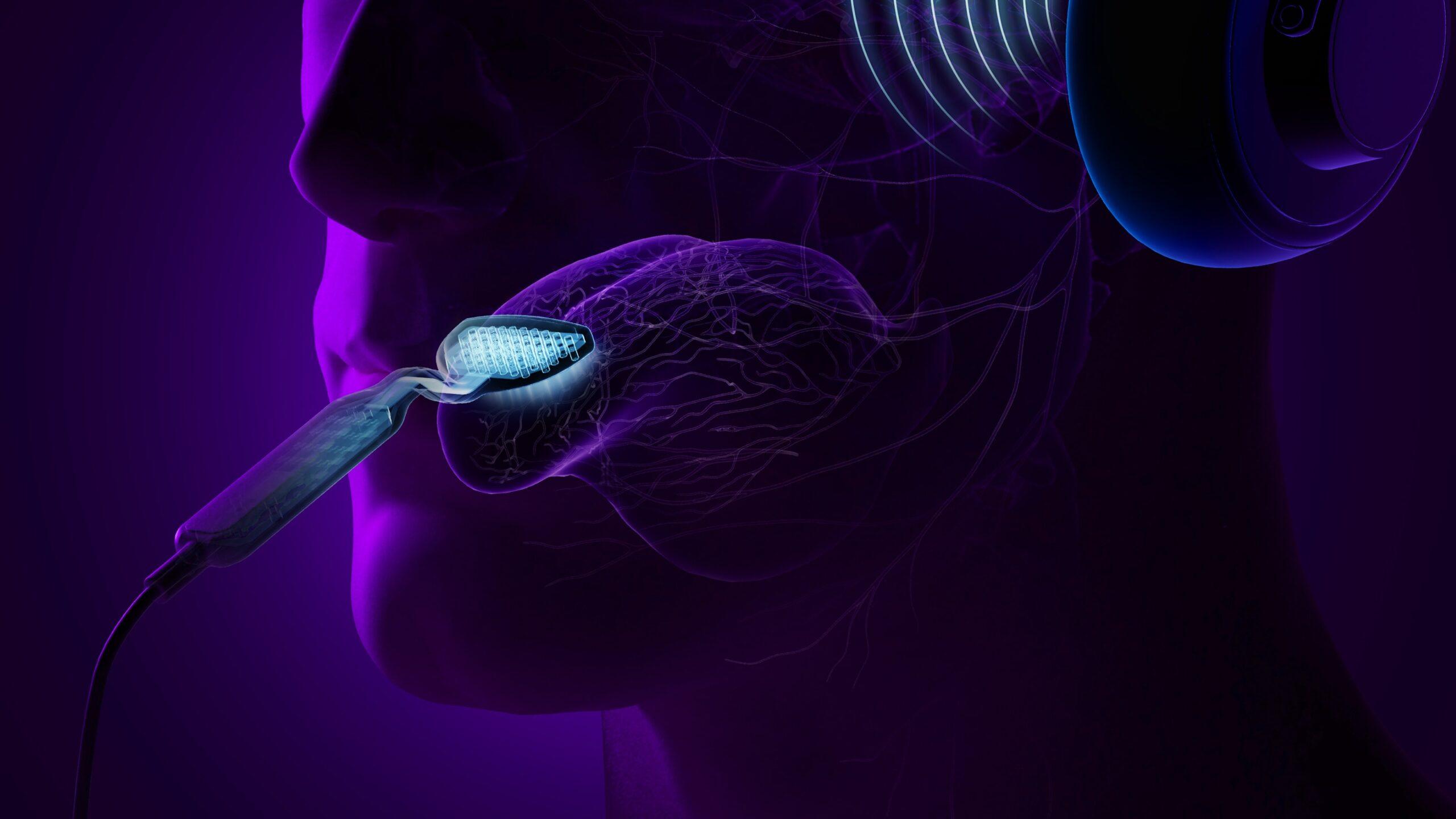 Rappresentazione del dispositivo Lenir per curare l'acufene.